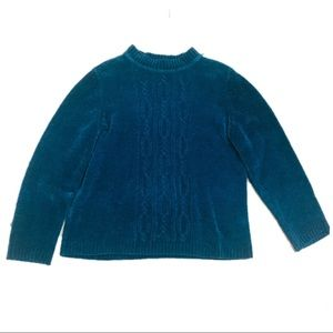 Alfred Dunner Blue Velour Cable Knit Sweater